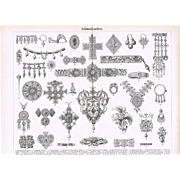 Jewelry Antique Lithograph with 38 Examples 1898