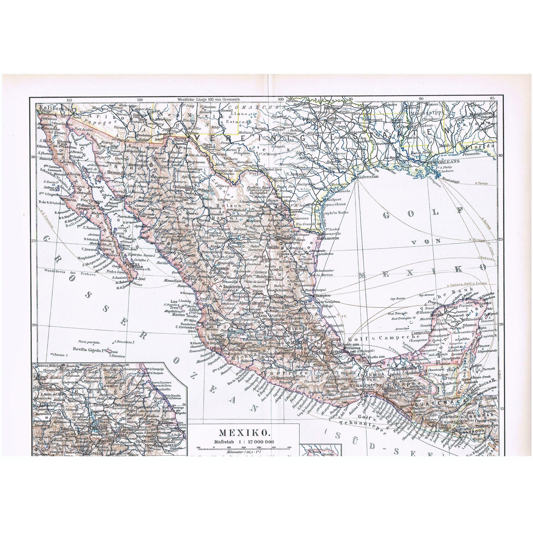 Two old Maps from Mexico 1898