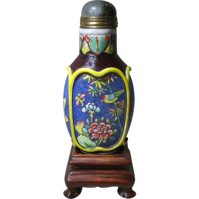 Chinese Snuff Bottle Enameled Overlay
