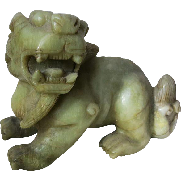Semi-antique Chinese Jade Mythical Creature Qilin