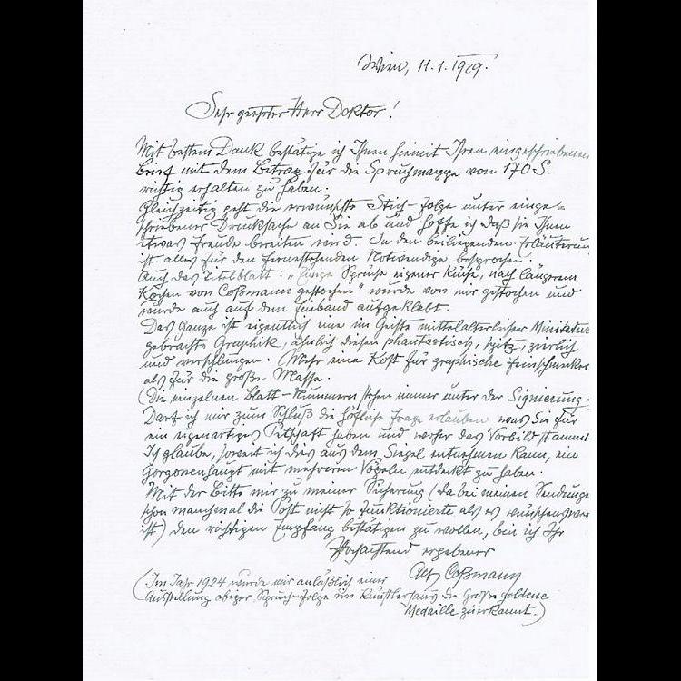 Alfred Cossmann Letter. Vienna Kunstlerhaus Artist Autograph
