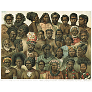 Minorities from Oceania: Very decorative Chromo Lithograph from 1898