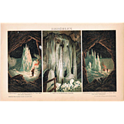 Antique Chromo Lithograph of Ice Caves 1898