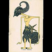 Art Deco Postcard of Indian God