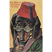 Postcard Dachshund with Spectacles and Fez