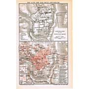 Antique Map Old and New Jerusalem 1901