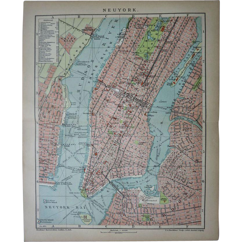 New York - Neuyork Lithographed Map from 1900
