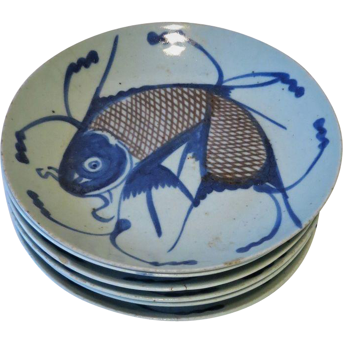 Set of 6 Qing Dynasty Chinese Porcelain Plates Fish Decor