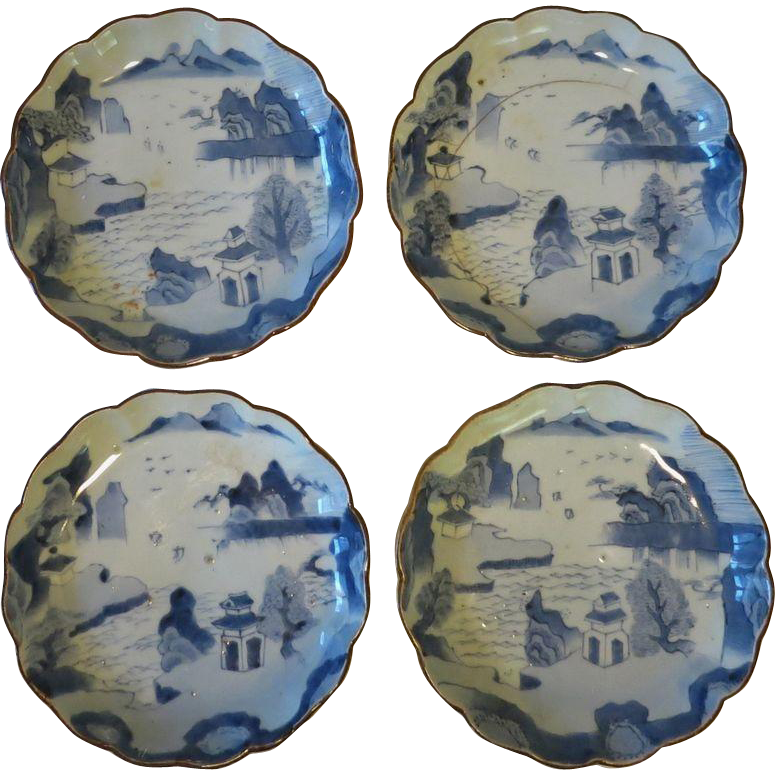 Four Antique Chinese Plates Qing Dynasty