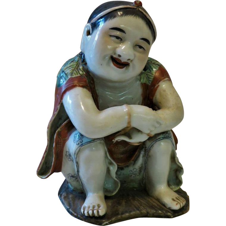 Chinese Daoist Liu Haichan as Porcelain Figurine Qing Dynasty
