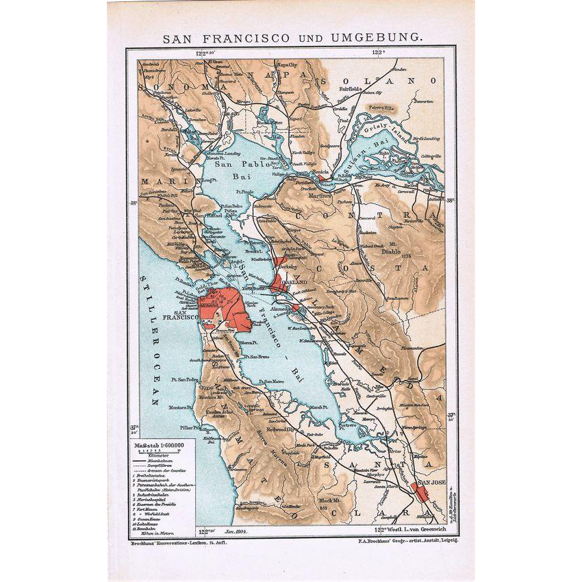 Antique San Francisco Map from 1900