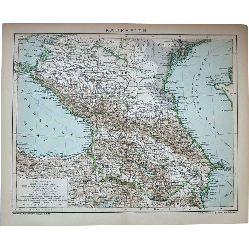 Caucasus Map from 1900 Lithographed
