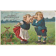 Kissing Pigs Funny New Years Postcard 1919