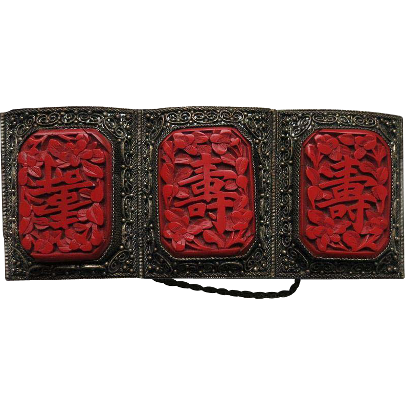 Old Chinese Silver Bracelet with Cinnabar Panels 1920s
