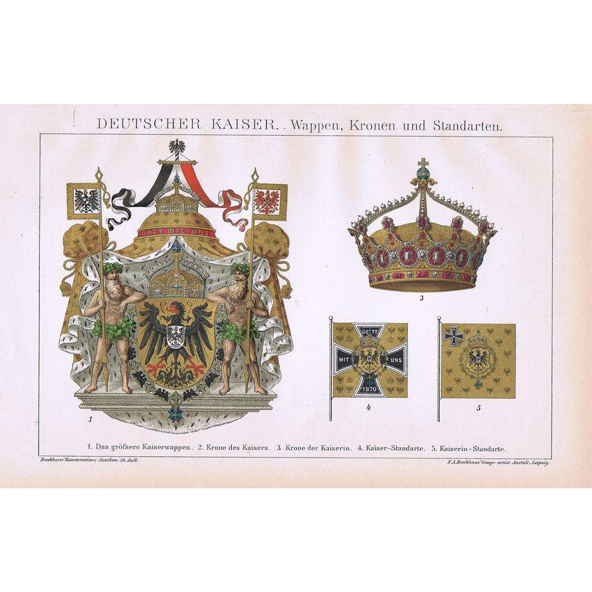 German Emperor Coat of Arms Crown and Pennants