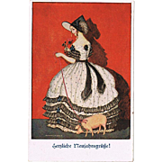 Mela Koehler Postcard Lady with Pig