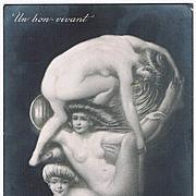 Memento Mori Postcard Man with Pince-Nez