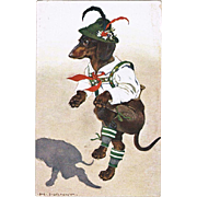 Funny Postcard with Dachshund in Costume