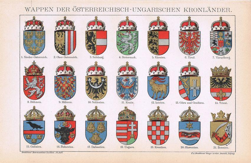1900: Austro-Hungarian Coats of Arms. Decorative Chromo lithograph.