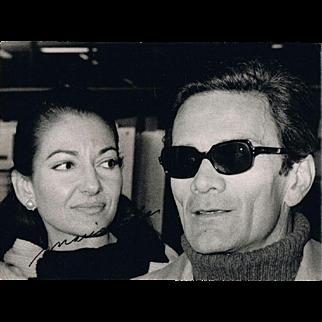 Most Desireable Maria Callas Autograph on Candid Photo with Pasolini. CoA