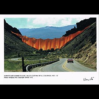 Christo signed Photo Valley Curtain 1972 CoA