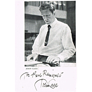 John Cage Autograph American Composer and Multi Media Artist CoA