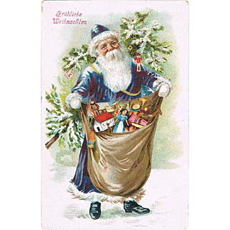 Old Christmas postcard Santa in Blue Gown.