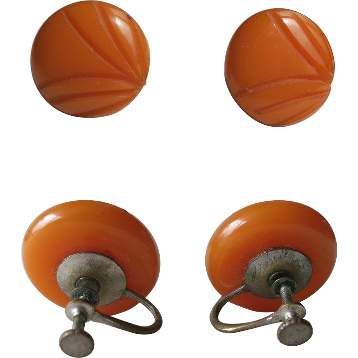 Set of two Amber Ear Clips Art Deco