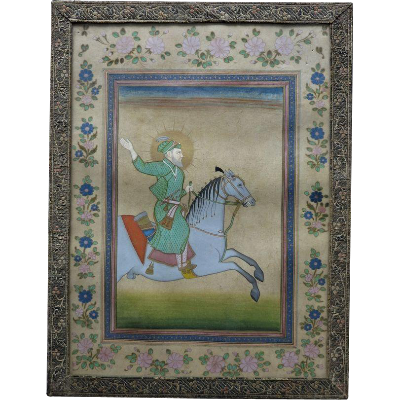 Antique Indian Miniature Painting Mughal Emperor Farrukhsiyar
