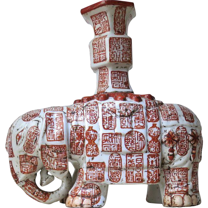 Chinese Porcelain Elephant with Seal Decoration