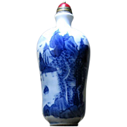 Old Chinese Porcelain Snuff Bottle Blue White Landscape