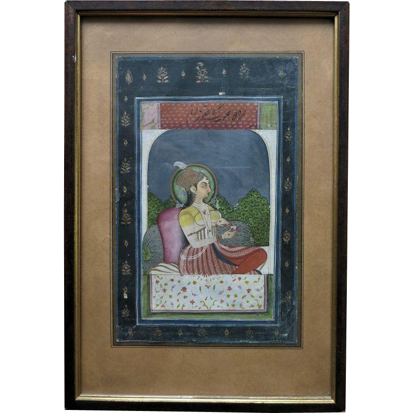 Antique Indian Miniature Painting of a Noble Lady