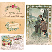 Four old Greeting Cards from Europe