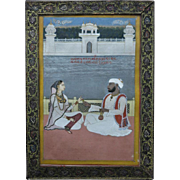 Antique Indian Mughal Miniature Painting with Couple 19. Ct