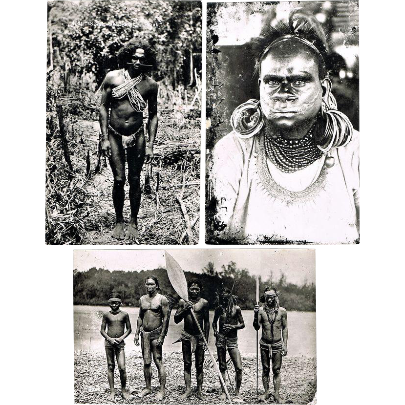 Three Photo Postcards with Indigene People