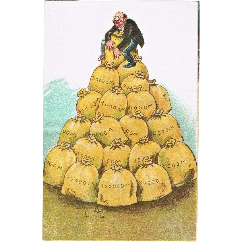 New Years Postcard with Sacks of Money