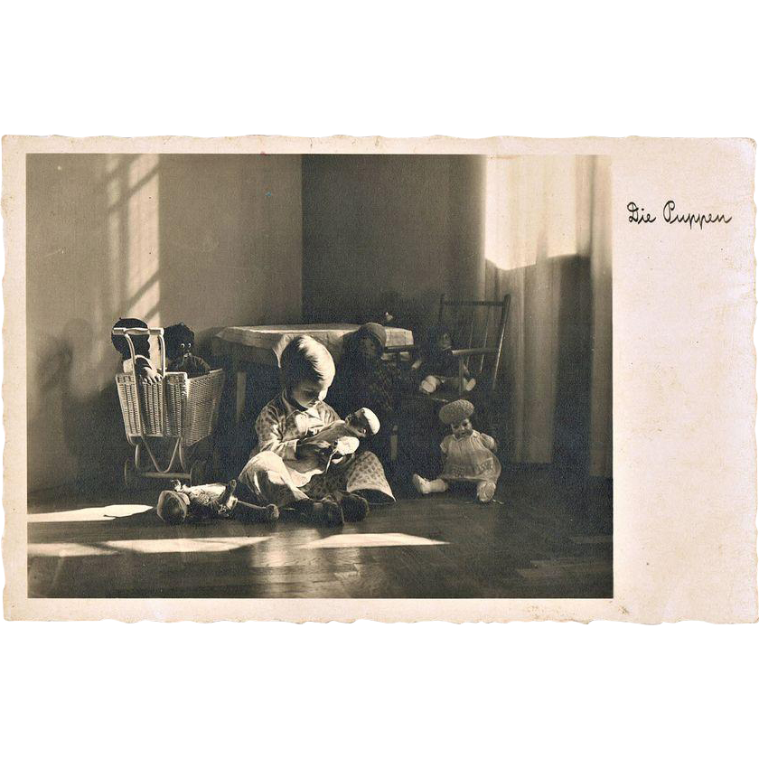 Vintage Photo Girl with Dolls