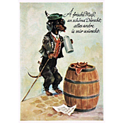 German Postcard with Dachshund drinking Beer