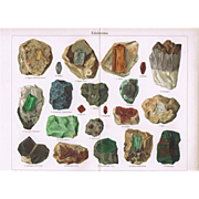 Gem Stones and Minerals - 2 Chromolithographs from 19th Century