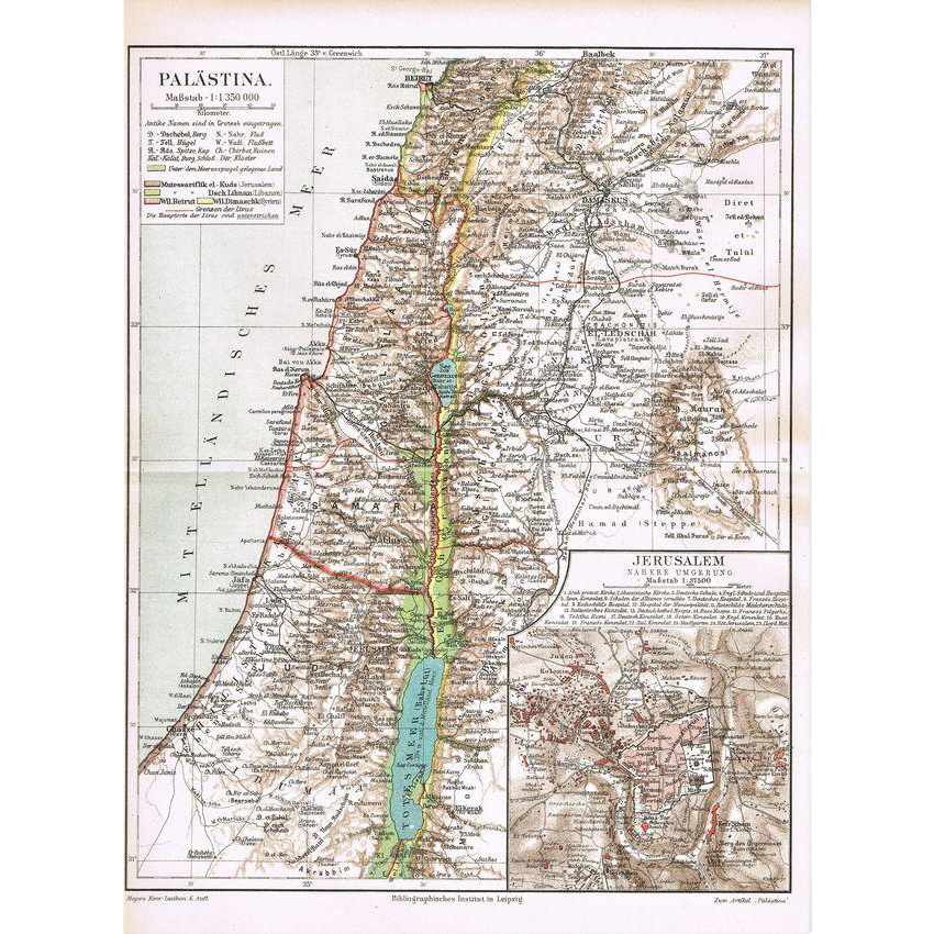 Palestine and Jerusalem Map from 1900