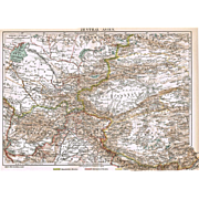 Antique Map of Cental Asia from 1900