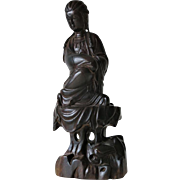 Chinese Hard Wood Carving Guan Yin