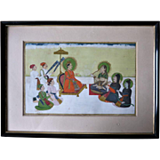 Antique Indian Mughal Miniature Painting Dakhin School Mahabharata