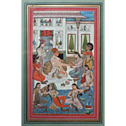 Antique Indian Mughal Miniature Painting Delicate Topic