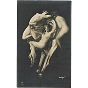 Memento Mori Postcard with Satyr and Girls