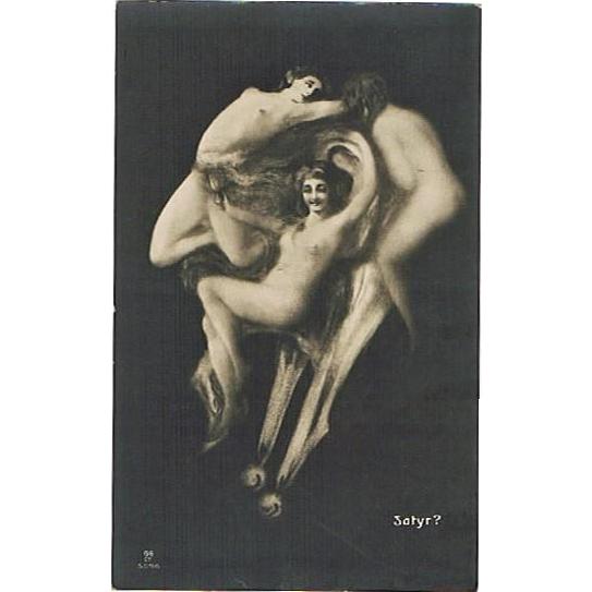 Memento Mori Postcard with Satyr and Girls