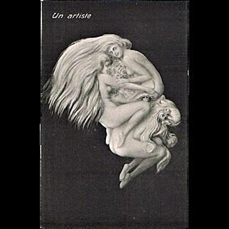 Memento Mori Postcard with Artist and Girls