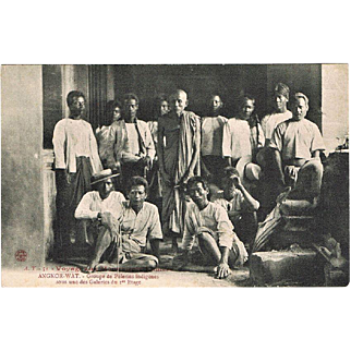 Old Cambodia Postcard Angkor Wat Group of People