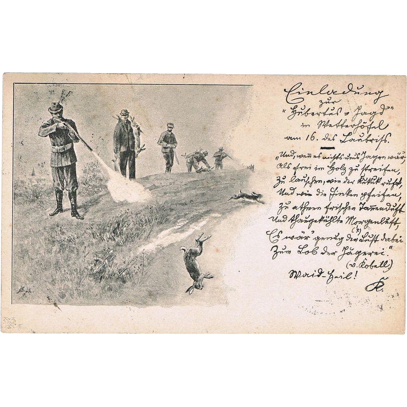 Antique Postcard with Hunting Scene