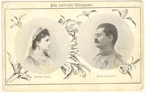 Alexander, King of Serbia and Draga, the Queen. Old Postcard